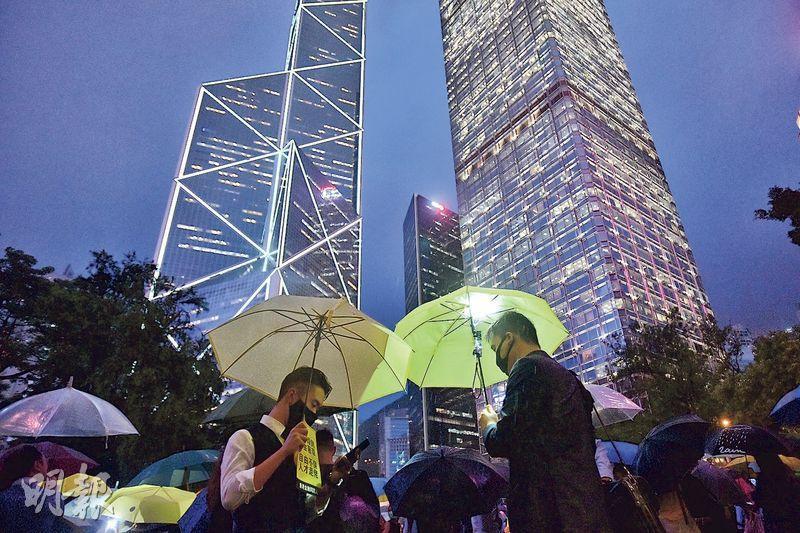 圖為金融界在8月1日舉行反修例快閃集會,「華爾街狠人」是召集人之一。相中人與「狠人」無關。(資料圖片)