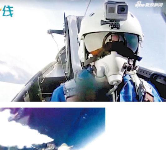在片中可見武輝駕駛殲–10C戰向超高空偵察氣球發射「霹靂10」導彈。(網上圖片)