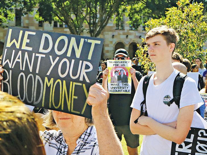 澳洲昆士蘭大學7月有學生參與聲援香港示威的集會,其間與中國學生發生衝突,數十名澳洲學生在7月31日舉行另一場集會以反對中國影響力。(網上圖片)