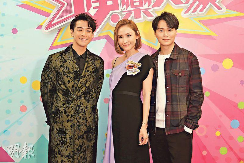 余德丞(左起)、陳貝兒和胡鴻鈞為《娛樂大家》錄影。(攝影/記者:鍾一虹)