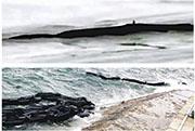 網上流傳疑似「三峽水怪」影片顯示,離拍攝地點數十米遠水面,有長約數米的黑色條狀物體移動(上圖),經媒體實地探訪並求證碼頭工作人員,證實「水怪」或為被冲走的圍油欄(下圖),地點為安徽池州貴池區江口輪渡碼頭。(網上圖片)