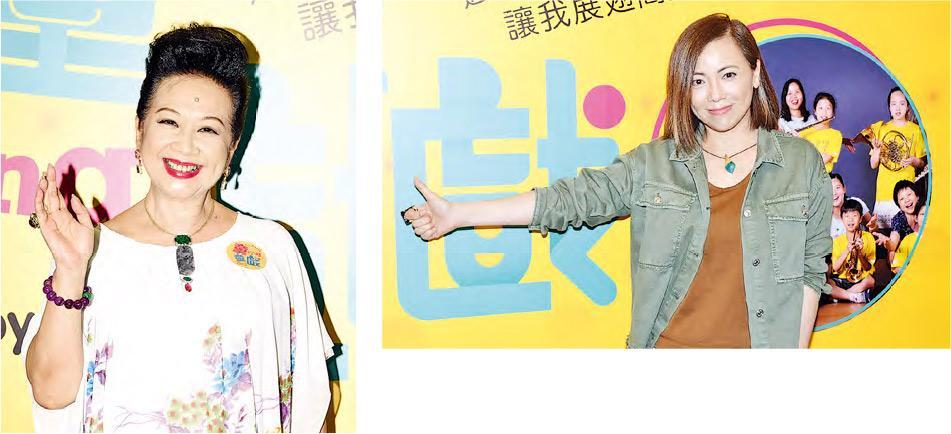 薛家燕(左圖)和鄧萃雯(右圖)出席兒童音樂劇《童Sing童戲》慈善場。(攝影:鍾偉茵、黃子烜)