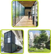 「綠在東區」環保回收站以舊貨櫃組裝成不同的活動空間,建築師將部分貨櫃側面鋼板拆去,換上落地玻璃,引入自然光。