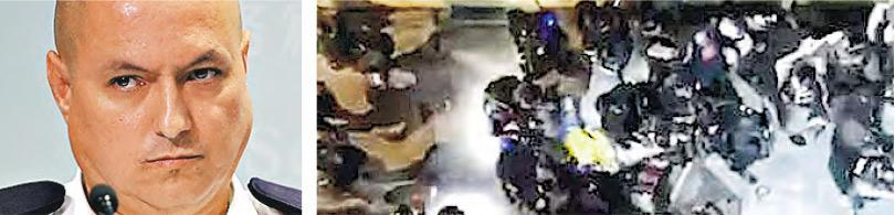 對於有市民拍攝到片段顯示有警員前晚疑在元朗後巷踢向被捕男子,新界北總區警司(行動)韋華高(左圖,曾憲宗攝)稱片段模糊(右圖,資料圖片),只顯示有警員踢向地上一個「黃色物體」,又說物體可以是人、袋或背心。