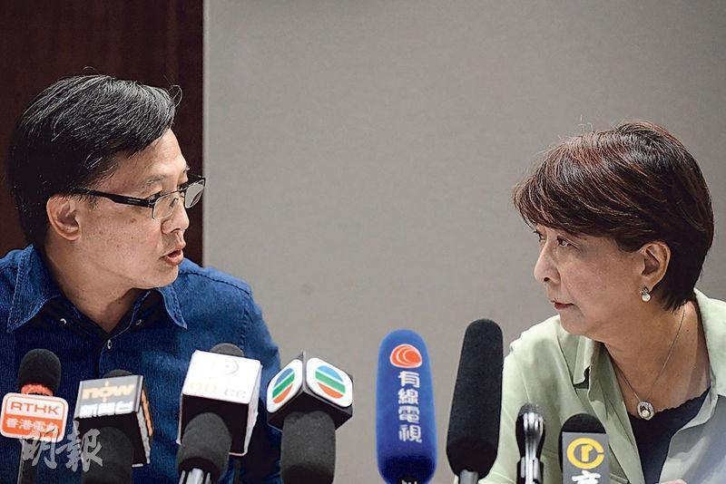 立法會議員何君堯(左)提倡藉《緊急法》引入蒙面法及辱警罪,又稱可規管認證記者身分,以及制止遊行期間展示「光復香港,時代革命」等港獨標語口號。民建聯蔣麗芸(右)則稱,不少打人事件均難以舉證,有必要考慮立蒙面法。(賴俊傑攝)