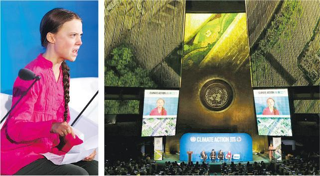 瑞典環保少女通貝里(左圖)昨日在聯合國的氣候峰會(右圖)上發言。(路透社)
