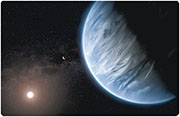 An artist's impression (模擬圖) of the planet K2-18b.