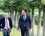 英國首相約翰遜(左)上周四與愛爾蘭總理瓦拉德卡(右)會晤,洽談英國脫歐安排。當地傳媒報道,他同意愛爾蘭島之間不設關稅邊界,被視為作出重大讓步。(法新社)