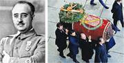 西班牙已故獨裁者佛朗哥(左圖)的親友周四在烈士谷抬着其棺木,準備安排送往新落葬地(右圖)。(路透社)