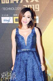 楊思琦前晚穿著性感低胸藍色長裙出席活動。(攝影/記者:林祖傑)