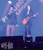 鄧建明(右)稱許志安來不到,故請來C AllStar成員On仔代替對方做嘉賓。(攝影:劉永銳)