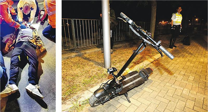34歲事主於意外後躺在路上,後腦流血,救護員到場急救(左圖),送院後不治,而涉事電動滑板車未見有明顯損毁(右圖)。(鄧先生提供、伍浦鋒攝)