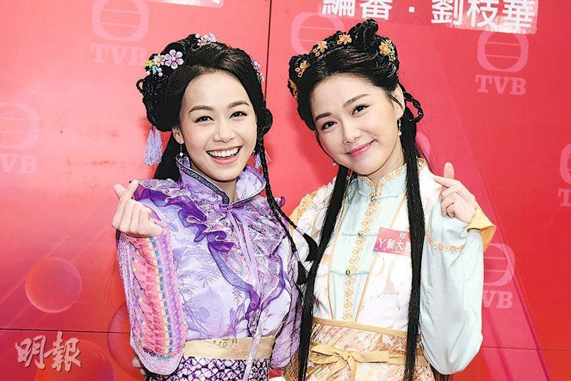 黃心穎(左)與湯洛雯去年初拍攝的賀歲劇《丫鬟大聯盟》終於播映有期。(資炓圖片)