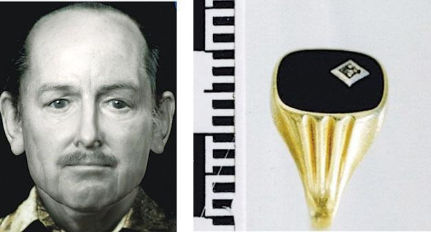 荷蘭警方製作了3段「播客」,吸引了公眾為一宗近30年前發生的謀殺懸案提供多項線索。圖為死者的模擬生前照片(左),以及被視為重要線索的死者手上金戒指(右)。(網上圖片)