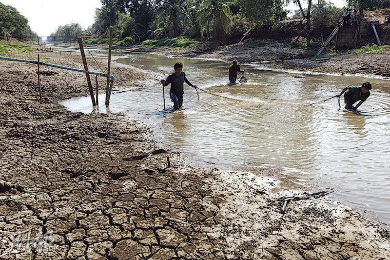 泰國經歷40年來最嚴重旱災,中部巴吞他尼府這魚塘部分位置龜裂。(網上圖片)