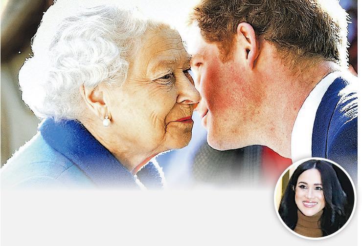 周一王室會議之後,英女王尊重哈里和梅根(小圖)的意願,讓他們卸下高級王室人員職務過較自由的生活。(資料圖片)