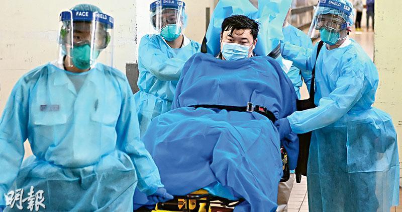 本港昨日首現兩宗「高度懷疑」的新型冠狀病毒個案,快速測試呈陽性,昨等候病毒基因測序結果。其中乘搭高鐵由武漢經深圳來港的39歲男子過關時被檢測到發燒,被送往伊利沙伯醫院隔離,其後轉送瑪嘉烈醫院,情况穩定。(賴俊傑攝)