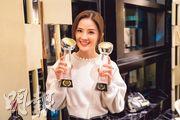 蔡卓妍早前在澳門國際電影及電視節奪兩獎,日前終於有時間慶功。