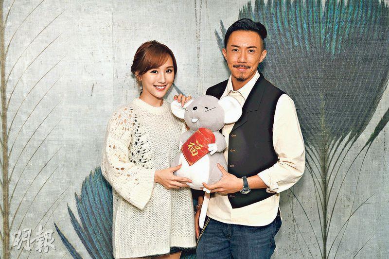 陳靜(左)與張繼聰迎春接福,望賀歲片《家有囍事2020》票房大賣。(攝影:劉永銳)