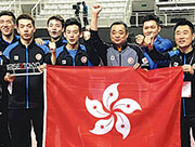 港將林兆恒(左起)、何鈞傑、吳柏男及黃鎮廷,合力取下奧運男團入場券,即趕赴德國寓賽於操。(相片由港隊提供)