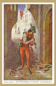 哈梅林的花衣吹笛人繪圖(Oskar Herrfurth @ Wiki Commons)