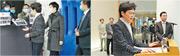 特首林鄭月娥(左圖前左)昨在行政會議前到示威區接收請願信,當時她及隨行人員都戴口罩。林鄭隨後再見記者時(右圖前左),並沒戴口罩,她稱政府要帶頭「慳啲使」口罩。(林若勤攝)