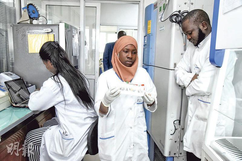 位於塞內加爾首都達卡的巴斯德研究所,獲非洲聯盟指定為非洲兩個檢測新型冠狀病毒的中心之一。圖為當地科學人員周一在工作。(法新社)
