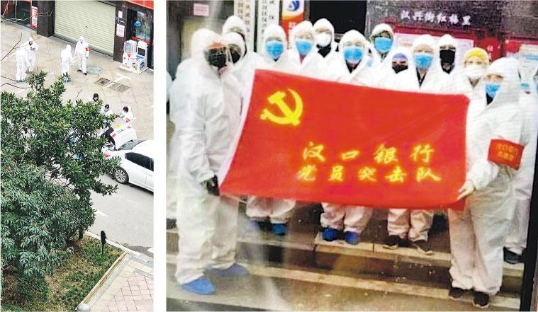武漢漢口銀行派出支援防疫的幹部員工,擺拍(右圖)及用防護服擦車等行為引來眾怒。左圖為擺拍前,多名身穿白色防護服的人員站在街道邊。(網上圖片)
