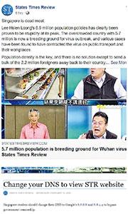 陳智祥昨天下午仍在「國家時報評論」facebook專頁,發表抨擊新加坡總理李顯龍應對新型冠狀病毒手法拙劣的文章(上圖),該網亦教導新加坡讀者更改域名系統以避過政府的審查(下圖)。迄昨晚,該網頁仍未應通訊及新聞部昨天午後的要求,自行標示「散播假資訊的網絡消息來源」。(網上圖片)
