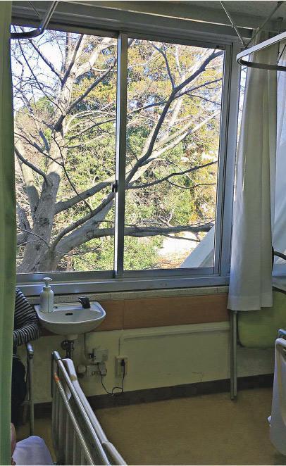 在鑽石公主號確診的陳先生被送到千葉東醫院,他兒子Danny引述父親稱感覺被送往一間地區小醫院,從窗外看出去比較荒蕪。(受訪者提供)