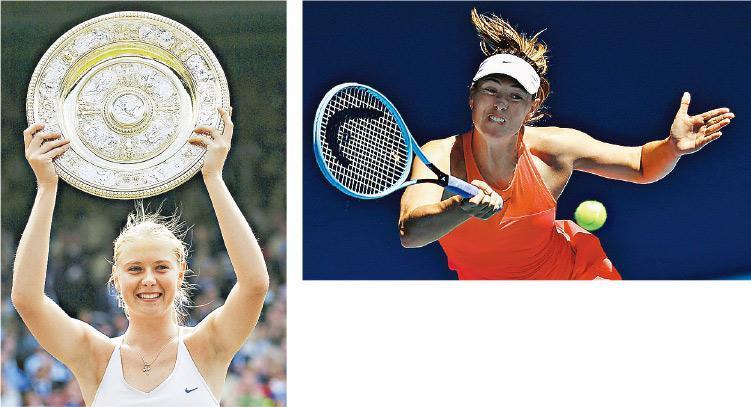 舒拉寶娃於2004年溫網(左圖)以17歲之齡首奪大滿貫,19年職業生涯五奪大滿貫,上月澳網(上圖)首圈下馬,成為她退役前最後一戰。(路透社/Getty Images)