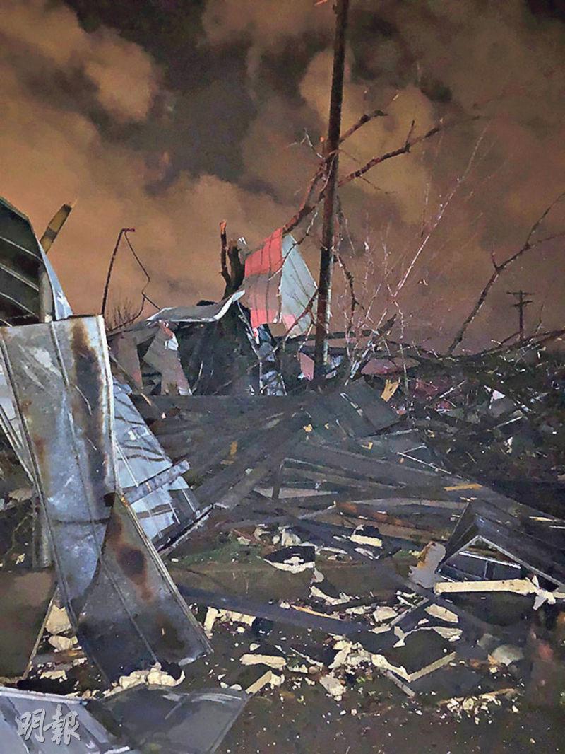 田納西州首府納什維爾受龍捲風吹襲過後有房屋倒塌。(路透社)
