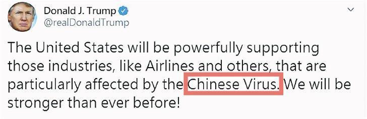 美國總統特朗普16日發Twitter首度公開將新冠肺炎稱為「中國病毒」。他稱將對航空工業等其他受「中國病毒(Chinese Virus)」影響的行業給予強有力的支持。