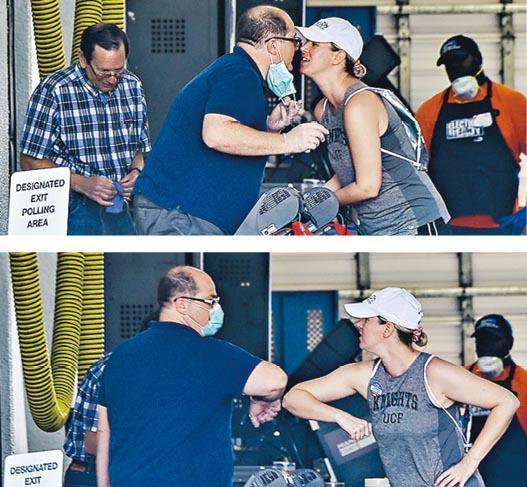 美國佛羅里達州周二舉行民主黨總統初選,當地城市邁阿密有民眾在消防救護站投票時與票站人員碰頰(上圖),又互碰手肘打招呼(下圖),防疫效果成疑。(法新社)