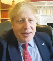 英國首相約翰遜昨在社交網站宣布自己確診感染新型冠狀病毒。(網上圖片)