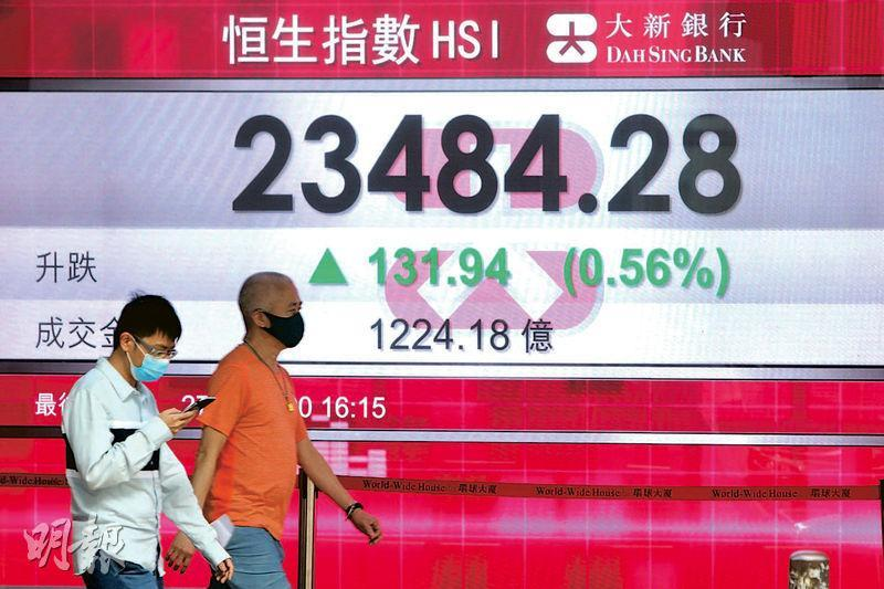 港股昨日早段最多曾升438點至23791點,但最終收報23,484點,升131點,成交1224億元。(中新社)