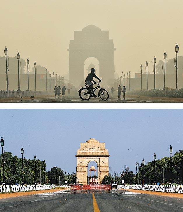 印度實施封城令後,空氣質素大幅改善,上圖為新德里地標「印度門」去年10月17日的情况,下圖為本周三的「印度門」,能見度明顯提升。(路透社)
