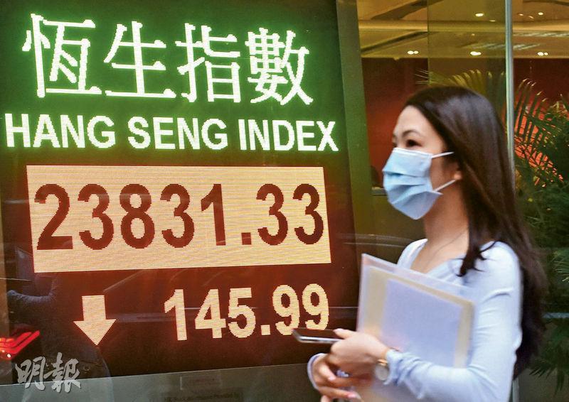 港股昨日低開,最多曾挫246點,低見23,730點,收市跌145點,報23,831點,險守20天線;全日成交縮減至828億元,為4月3日以來最低。(中新社)