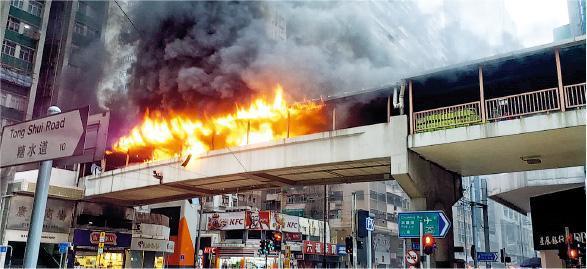 北角英皇道近糖水道的行人天橋發生火警,火勢非常猛烈,濃煙席捲半空。(讀者提供)