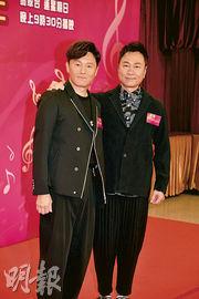 曹永廉(左)獲黎耀祥(右)力撐,只收利市擔任嘉賓主持。(攝影:劉永銳)