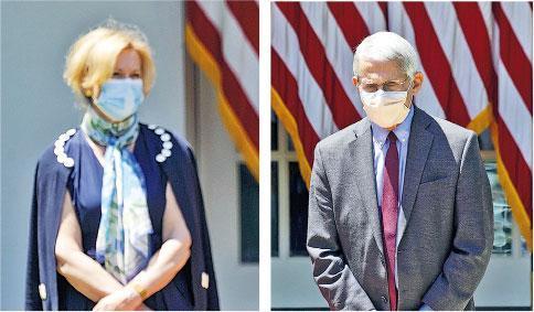 特朗普上周五發表關於疫苗講話,抗疫協調官員比爾克斯(左圖)和研究院總監福奇(右圖)均戴着口罩陪同左右。(路透社)