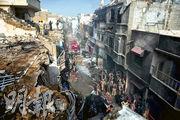 巴基斯坦一架載近100人的客機昨天墜落卡拉奇住宅區,暫未知傷亡人數。(法新社)