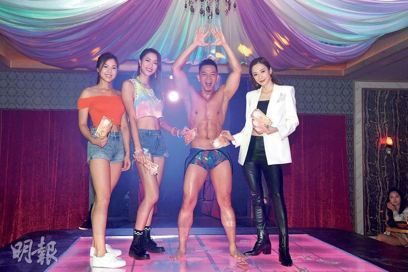伍樂怡(左起)、劉穎鏇、林子善及王君馨昨日為新劇《超能使者》拍一場舞男表演、女士尖叫又打賞的戲分。(攝影:黃梓烜)
