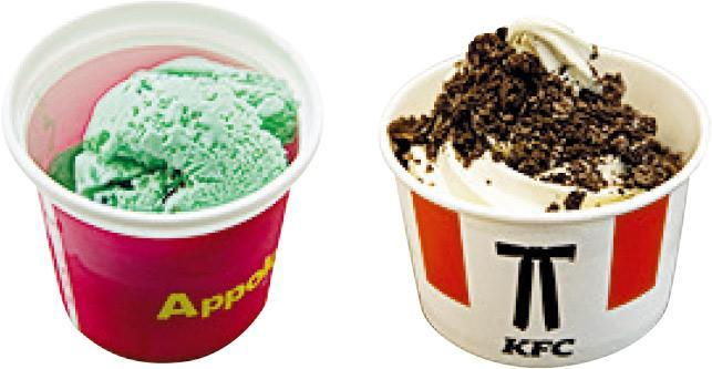 阿波羅Appolo一款薄荷朱古力特級雪糕(左圖)總含菌量亦超標16%,而「KFC」特選牛乳朱古力曲奇新地(右圖)每克含280個大腸菌群,超標1.8倍,已即時被指令停售。(消委報告)