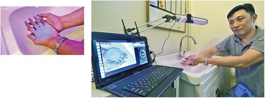 香港大學電腦科學博士生江頌濤表示,智能洗手機真正投產時會將幾個組件整合成單一部裝置。左上圖為雙手塗上加入熒光物質的洗手液,並在紫外光燈下的情况。(李紹昌攝)
