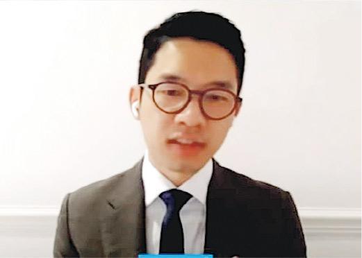圖為羅冠聰於本港時間周三晚上以視像會議形式出席美國國會聽證會。