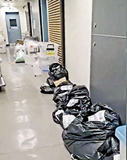 facebook專頁「公務員secrets」上載狀似檢測中心的短片,稱是「化驗室外,走廊放滿等待處理嘅樣本」,片中所見走廊地上有多個貼上字條的黑色及透明大膠袋、膠箱等。任職衛生署衛生防護感染控制處的政府醫生協會主席李慧茵稱片段「屬實」。(網上截圖)