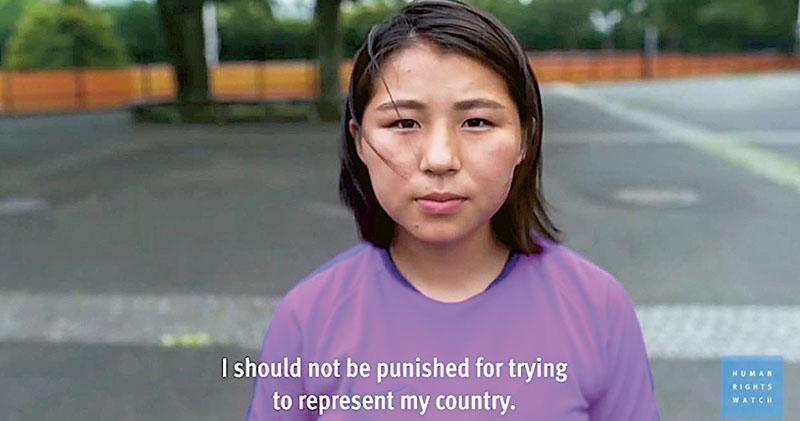 人權觀察組織的報告指日本體育界虐待未成年運動員成風,組織亦發布一段有多名運動員參與的短片,向虐待說不。片中一名女足運動員稱不應因為希望代表國家出賽而受罰。(網上圖片)