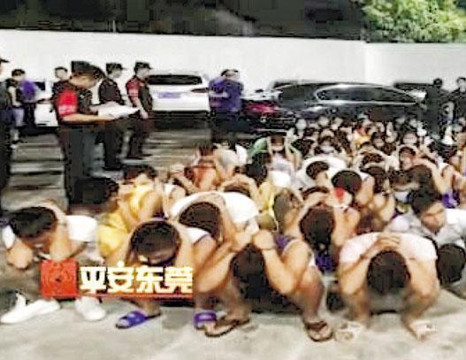 東莞警方近日破獲現實版無線電視劇《迷網》交友騙案,共拘捕500多名涉案「女神」。圖為警方拘捕所謂的「女神」交友詐騙集團,成員大多是男子。(網上圖片)