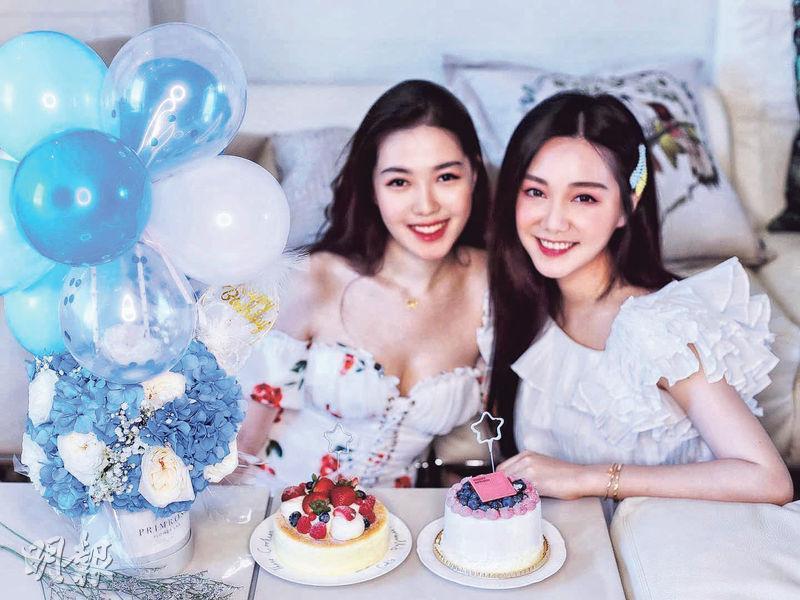湯樂瑤(左)生日獲胞姊湯洛雯(右)悉心安排為她慶祝。(網上圖片)
